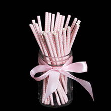 25pcs/lot Beautiful pink wave chevron striped Paper Drinking Straws Drinking Tubes Party Supplies