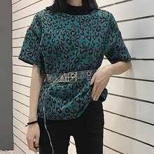 KYMAKUTU Leopard Print Summer T Shirts for Women Clothing O Neck Short Sleeve Tshirt All Match New Poleras Mujer Fashion Tops(China)