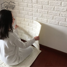 PE Foam 3D Wall Stickers Safty Home Decor Wallpaper DIY Wall Decor Brick Living Room Kids Bedroom Decorative Sticker White