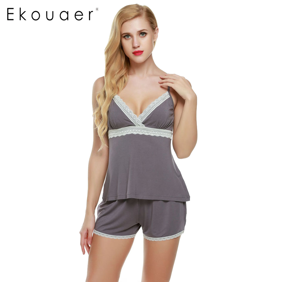 Ekouaer Pajamas sets Spring Summer Cotton women pajama of Halter top with Sleep Shorts Solid Lace Lady Nightgown Home Clothes(China)