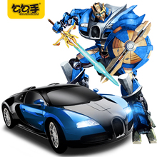 GouGouShou Remote Control Transformation Sports Musical Car Deformation Battle Robot Model Toys With Light Music Boy Gift 2315P(China)
