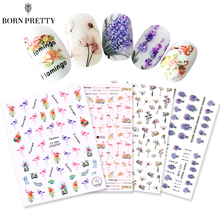 4 Sheets 3D Nail Sticker Water Decal Set Flamingo Lavender Dried Flower Adhesive Nail Art Transfer Sticker For Manicure DIY Tips(China)