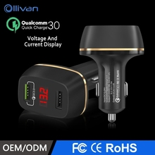 OLLIVAN Car Charger QC3.0 3A LED Display For iPhone 8 7 6 6s Dual Port USB Charger For Samsung Note 8 S8 Xiaomi All Car Brand(China)