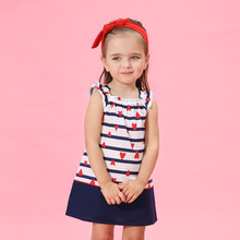 0-4Y Baby Girls Kids Dresses cotton 2016 summer Lovely Cute Red heart Blue Striped Dress Sleeveless  Children's Clothing