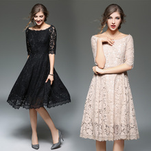 Top quality new arrival 2017 spring summer Half sleeve women fashion lace dress Black celebrity wear princess sexy dresses