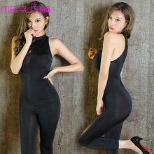 Buy Sexy Zipper Open Crotch Bodysuit Ice Silk Smooth Transparent Turtleneck Body Stockings Club Dance Wear Tight Erotic Lingerie F30