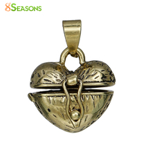 "8SEASONS Copper Charms Prayer Box golden tone antique golden Heart Can Open(Fit Bead Size: 6mm)23mm(7/8"")x 18mm(6/8""),1 Piece"