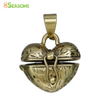 "8SEASONS Copper Charms Prayer Box golden tone antique golden Heart Can Open(Fit Bead Size: 6mm)23mm(7/8"")x 18mm(6/8""),1 Piece(China)"