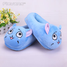 Anime Cartoon Fairy Tail Happy Plush Toys Dolls Women/ Men Plush Slippers Home Winter House Shoes One Pair(China)