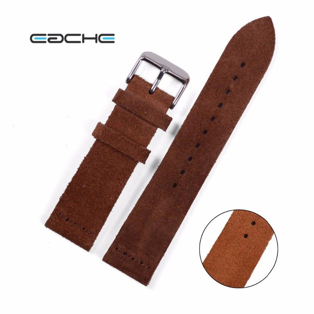 EACHE Suede Cowhide Leather Wathband With Sliver Buckle Light Brown Dark Brown Watch Straps 20mm  22mm<br><br>Aliexpress
