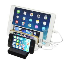 USB Charging Station 5.1A 4 Ports Charging Station With Stand Charger Dock Desktop Charging Stand For iPhone iPad Samsung LG HTC