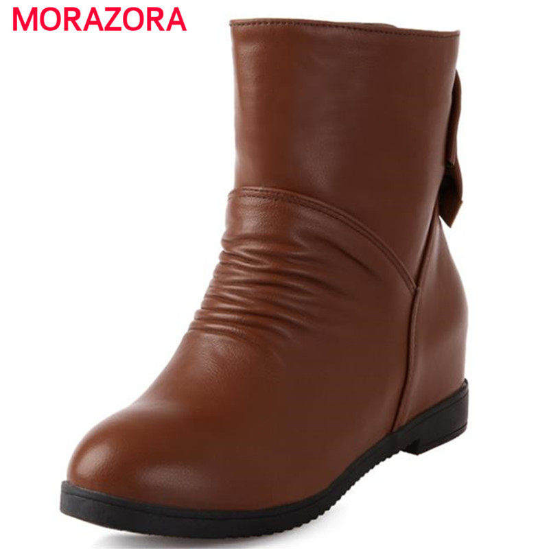 MORAZORA Slip on new arrive solid elegant warm autumn womens boots  height increasing bowtie round toe ankle boots for women<br>
