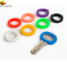 OPPOHERE Mixed color 8pcs/16pcs Hollow Multi Color Rubber Soft Key Locks Keys Cap Key Covers Topper Keyring