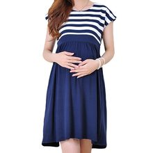 Summer Pregnant Women's Fashion Maternity Dress Cotton Striped Short Sleeved Casual Vestidos Elegant Clothing for Pregnancy