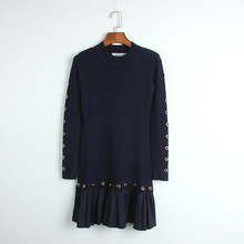 of 2017 autumn winters off two pleated knitting to show thin han edition to collect waist dress wholesale(China)