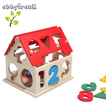 Abbyfrank DIY Wooden Digital Puzzle House Kids Games 3D Puzzle Model Building Educational Toys Handicrafts House Children Gift