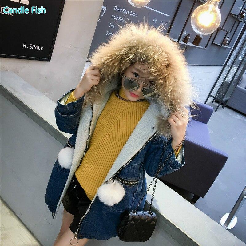 2017 autumn and winter new childrens clothing girls jacket girl long section fur collar denim jacket wool ball zipper jacket<br>