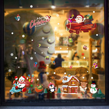 In Macro SK9245 Christmas As One Wishes Cartoon Stickers Doors Windows Festival Shop Display Window Glass Snow Sticker(China)