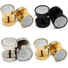 2pcs Fashion New Style Sandblast Sandpaper Texture Top Stud Earrings Ear Stud Anodized Black Gold Silver Body Piercing Jewelry(China)
