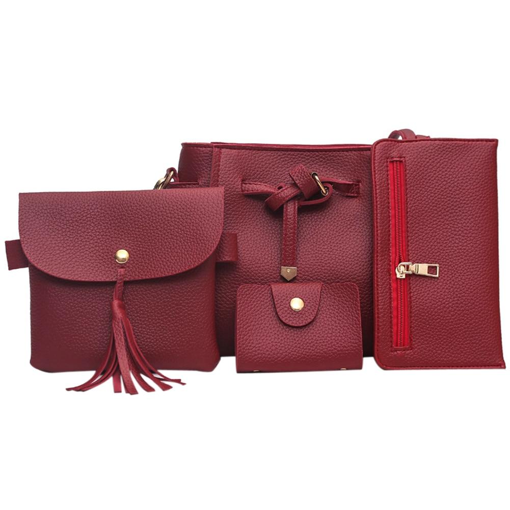 MOJOYCE New 4Pcs/Sets Women PU Leather Handbags Bucket Messenger Bags Clutch Wallet Casual Shoulder Bag Solid Composite Bag<br><br>Aliexpress