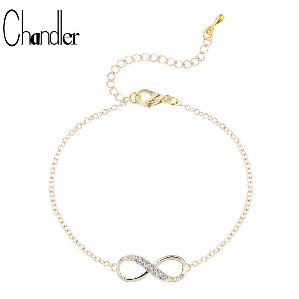 Chandler  2018 New Fashion Infinity Bracelet For Women Filled Crystal Stones Bracelet Infinity Number 8 Chain Bangle bileklik