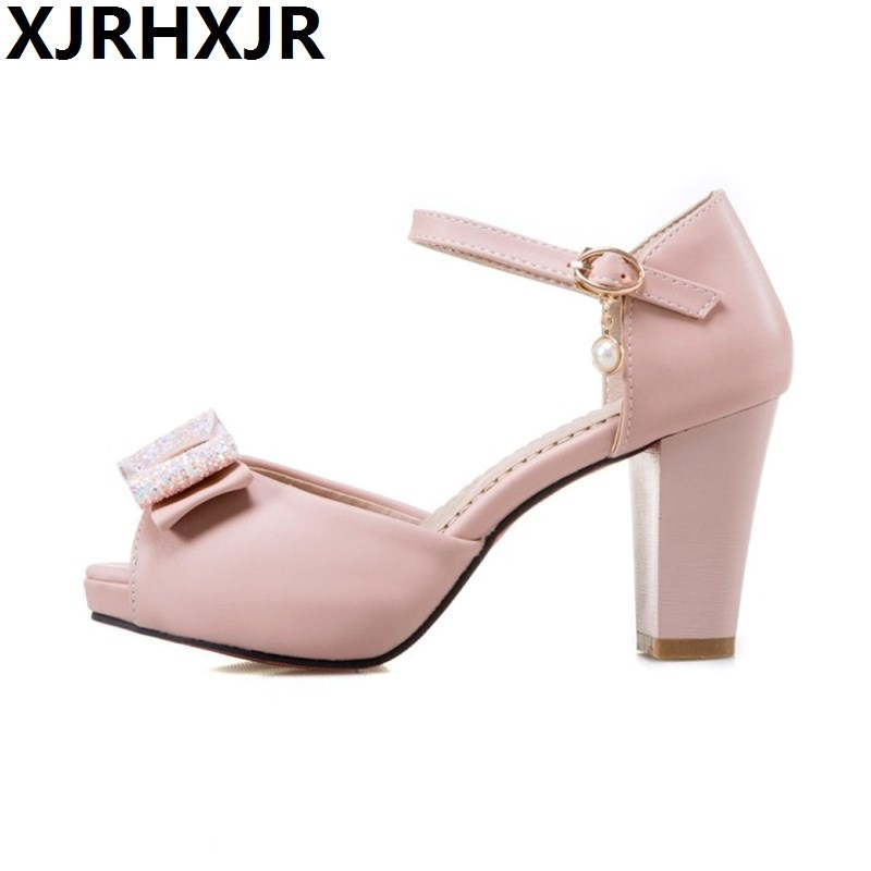 Female Sandals Big Size 34-43 New Sweet Style Cute Bow Leather Thick High Peep Toe Platform Sandals Women Summer Shoes<br>