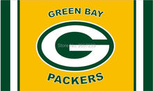 Green Bay Packers logo and column Flag 3x5FT NFL banner150X90CM 100D Polyester brass grommets custom flag, Free Shipping(China)