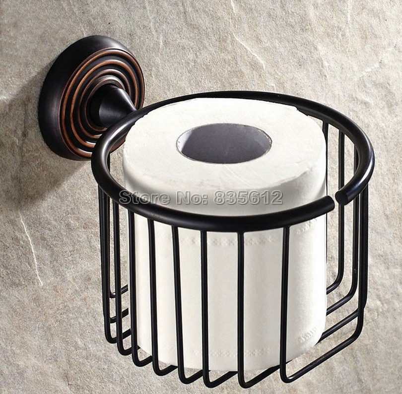 Black Oil Rubbed Bronze Bathroom Wall Mounted Toilet Paper Holder Roll Tissue Holder Basket Wba071<br>