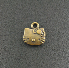 Free Shipping! 10pcs Antique Bronze Lovely Hello Kitty Cat Charm Handmade Charms Pendants Jewelry Findings 13x11mm A241