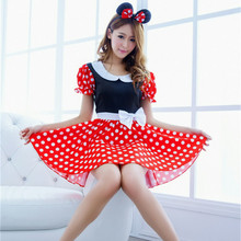 E680 moda sexy ratón de halloween disfraces travieso lindo mujeres red dot dress baile de disfraces trajes de mickey cosplay dress