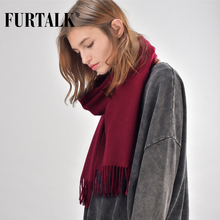 FURTALK 100% wool winter women scarf men warm luxury brand male and female scarves(China)