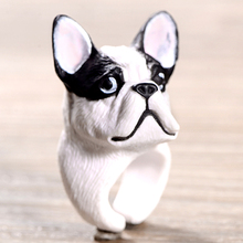 2016 New Fashion White Black DOG Ring Cute Trendy Jewelry 3D Finger Animal Rings for women  accessories