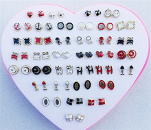 36pairs/lot Black White Red Colors Mix Randomly  Assorted Styles Enamel Small Stud Earrings For Children Girls Jewelry