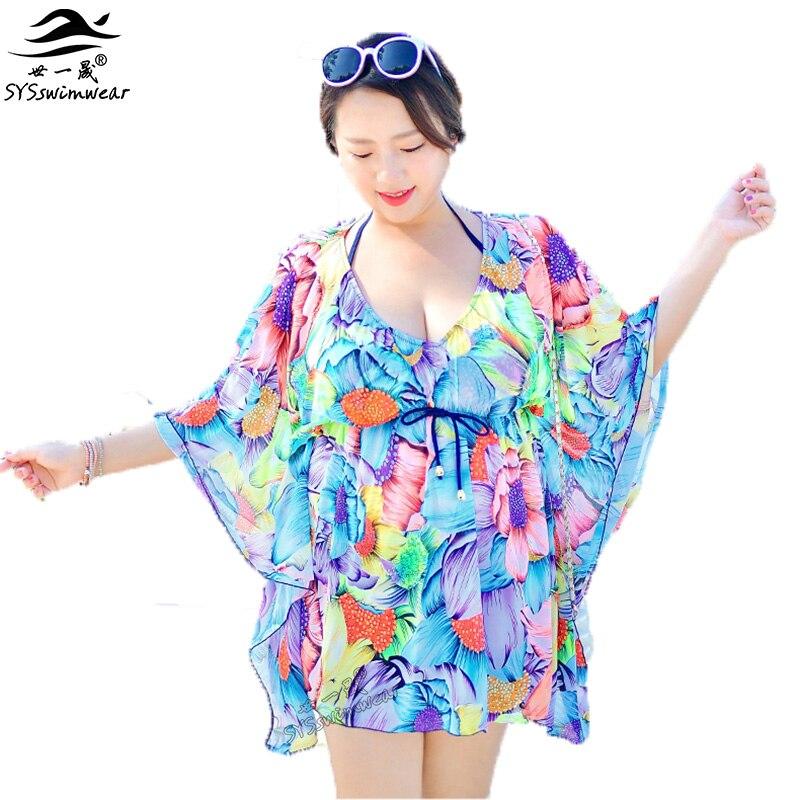 Summer Beach Top Quality Plus Size 3 Pieces Sexy Women Bikini Swimwear with Floral Cover-Ups Hot Print Push Up Bikini Swimsuit <br>