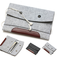 high quality Wool Felt bags for iPad mini 2/3& for ipad 2/3/4 leather&woolfelt sleeve for iPad air 2 tablet Handcraft color gray
