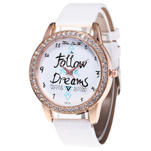 zhou lian fa High Quality Women Watch Unisex Casual Follow Dreams Words Pattern Leather Men Quartz Wrist Watch Relogio Feminino