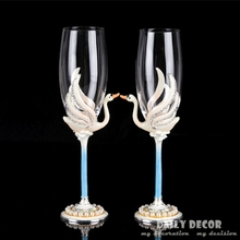 2015 Fancy goblet Lead-free crystal glass rhinestone bride and groom wedding champagne wine cup wedding / Valentine's Day gift