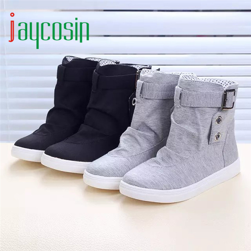 High quality Womens Ankle Boots Flats With Buckle Lace-Up Fashion Canvas Martin Boots 170210<br><br>Aliexpress