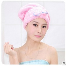 1pcs Lovely Romantic Bowknot Coral very Strong Water Absorption Hair Dry Shower Bath Caps/Hats