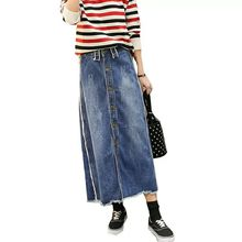 New Plus Size 9XL Breasted Relaxed Casual Denim Jeans Skirts Long Maxi Female Spring Summer For Womens Skirt faldas mujer S02