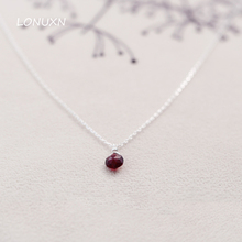 925 sterling silver, Garnet water drop Pendant,red necklace, simple short chain Natural semi precious stone female lovers gift(China)