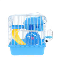 2 Floors Storey Luxury Pet Hamster Cage Portable Small Pet Cage Nest House With Slide Disk Spinning Bottle Mini Hamster Supplies(China)