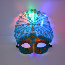 2017 Colorful LED Light Up Peacock Mask Women Girls Flashing Venetian Princess Mask Masquerade Wedding Party Dress Supplies(China)