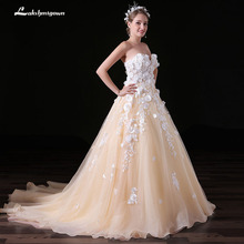 Buy 3D Flower A-Line Lace Sweetheart Wedding Dress 2018 Romantic Robe De Mariage Vestido De Noiva Sheer Backless Bride Dresses for $157.53 in AliExpress store