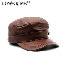 Dower me genuine leather baseball cap hat men's brand new cow skin leather newsboy caps hats  CS70