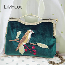 LilyHood 2017 Velvet Embroidery Handbag Lady Trendy Vintage Retro Old Fashion Elegant Fabric Birds China Emeraid Crossbody Bag(China)