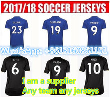 2017 2018 Leicester City soccer jerseys 17 18 Adult VARDY MAHREZ Home Blue Football Shirt HUTM KING Leicester City Jersey(China)