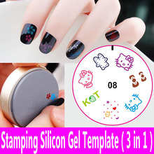 1piece Nail Art Stamping Template Silicon Gel Plate 3 in 1 Transfer Print Stamper Scraper Seal DIY 3d Decoration 20 Designs Mix