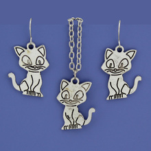 "Fashion Vintage Silver Tone Cute Cat Women Jewelry Set Earring Pendant Short Necklace 16""  Free Shipping Wholesale Lot DY154"
