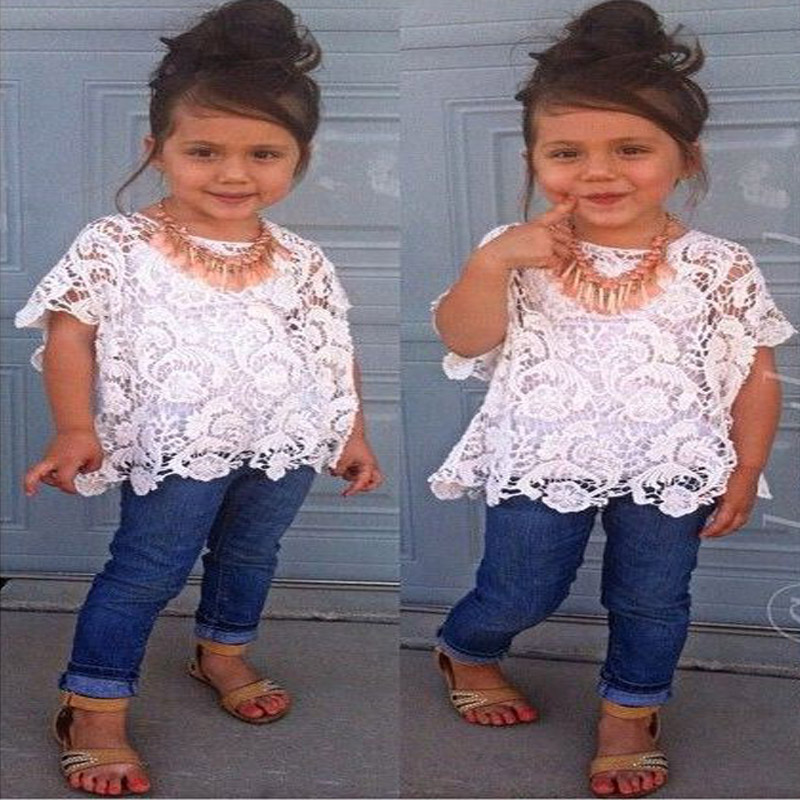 Girls Fashion Denim Clothing Sets Children Casual Summer Short Sleeve + Cotton Sling Top + Denim Trousers Set Hot Sell YAZ058F